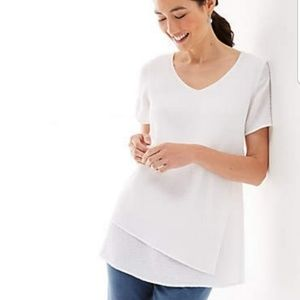 J.Jill pure jill crinkled-cotton layered white top